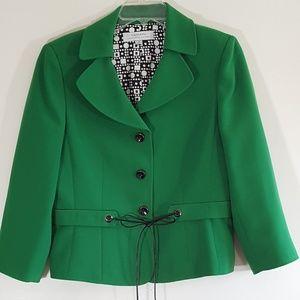 Tahari A.S. Levine Kelly Green Black Tie Blazer 12